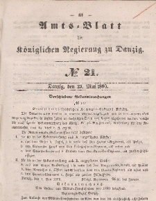 Amts-Blatt der Königlichen Regierung zu Danzig, 23. Mai 1860, Nr. 21