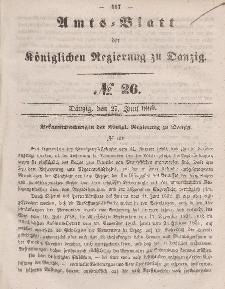 Amts-Blatt der Königlichen Regierung zu Danzig, 27. Juni 1860, Nr. 26