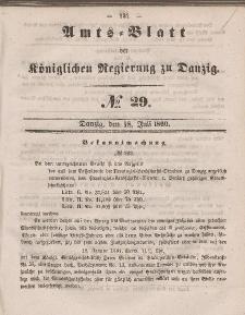 Amts-Blatt der Königlichen Regierung zu Danzig, 18. Juli 1860, Nr. 29