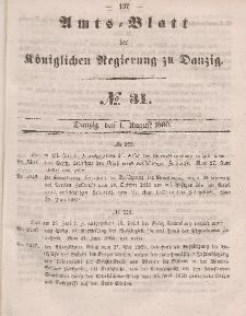Amts-Blatt der Königlichen Regierung zu Danzig, 1. August 1860, Nr. 31