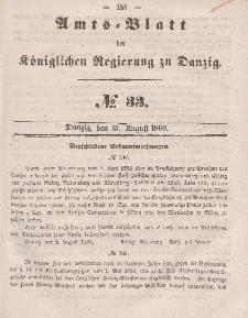 Amts-Blatt der Königlichen Regierung zu Danzig, 15. August 1860, Nr. 33