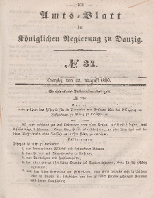 Amts-Blatt der Königlichen Regierung zu Danzig, 22. August 1860, Nr. 34