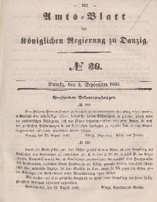 Amts-Blatt der Königlichen Regierung zu Danzig, 5. September 1860, Nr. 36