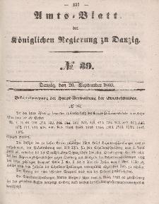 Amts-Blatt der Königlichen Regierung zu Danzig, 26. September 1860, Nr. 39