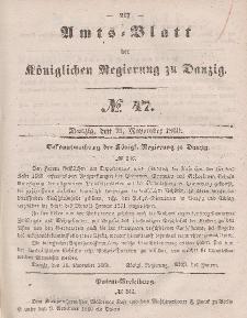 Amts-Blatt der Königlichen Regierung zu Danzig, 21. November 1860, Nr. 47