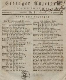 Elbinger Anzeigen, Nr. 1. Sonnabend, 2. Januar 1830