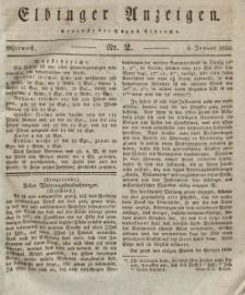 Elbinger Anzeigen, Nr. 2. Mittwoch, 6. Januar 1830