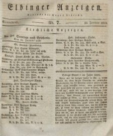Elbinger Anzeigen, Nr. 7. Sonnabend, 23. Januar 1830