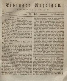 Elbinger Anzeigen, Nr. 10. Mittwoch, 3. Februar 1830