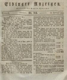 Elbinger Anzeigen, Nr. 12. Mittwoch, 10. Februar 1830