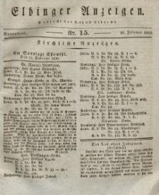 Elbinger Anzeigen, Nr. 15. Sonnabend, 20. Februar 1830