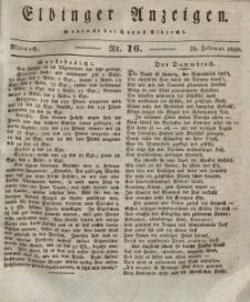 Elbinger Anzeigen, Nr. 16. Mittwoch, 24. Februar 1830