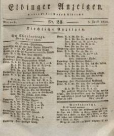 Elbinger Anzeigen, Nr. 28. Mittwoch, 7. April 1830