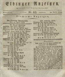 Elbinger Anzeigen, Nr. 33. Sonnabend, 24. April 1830
