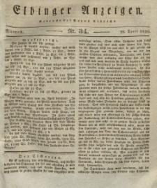 Elbinger Anzeigen, Nr. 34. Mittwoch, 28. April 1830
