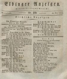 Elbinger Anzeigen, Nr. 39. Sonnabend, 15. Mai 1830