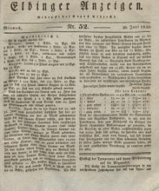 Elbinger Anzeigen, Nr. 52. Mittwoch, 30. Juni 1830
