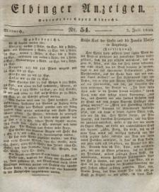 Elbinger Anzeigen, Nr. 54. Mittwoch, 7. Juli 1830