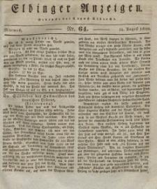 Elbinger Anzeigen, Nr. 64. Mittwoch, 11. August 1830