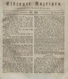 Elbinger Anzeigen, Nr. 68. Mittwoch, 25. August 1830