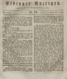 Elbinger Anzeigen, Nr. 70. Mittwoch, 1. September 1830