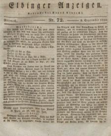 Elbinger Anzeigen, Nr. 72. Mittwoch, 8. September 1830