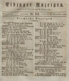 Elbinger Anzeigen, Nr. 73. Sonnabend, 11. September 1830