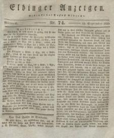 Elbinger Anzeigen, Nr. 74. Mittwoch, 15. September 1830
