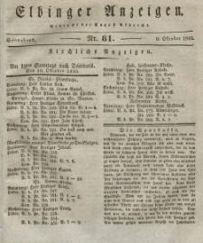 Elbinger Anzeigen, Nr. 81. Sonnabend, 9. Oktober 1830