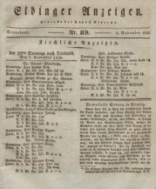 Elbinger Anzeigen, Nr. 89. Sonnabend, 6. November 1830