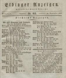 Elbinger Anzeigen, Nr. 93. Sonnabend, 20. November 1830