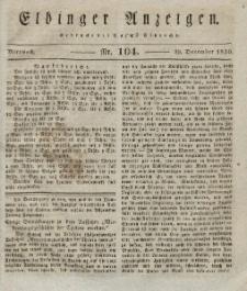 Elbinger Anzeigen, Nr. 104. Mittwoch, 29. Dezember 1830
