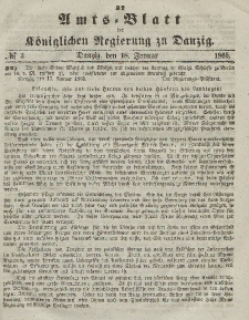Amts-Blatt der Königlichen Regierung zu Danzig, 18. Januar 1865, Nr. 3