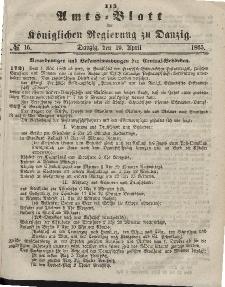 Amts-Blatt der Königlichen Regierung zu Danzig, 19. April 1865, Nr. 16