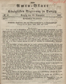 Amts-Blatt der Königlichen Regierung zu Danzig, 20. September 1865, Nr. 38