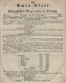 Amts-Blatt der Königlichen Regierung zu Danzig, 22. November 1865, Nr. 47