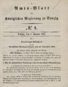 Amts-Blatt der Königlichen Regierung zu Danzig, 5.Januar 1859, Nr. 1
