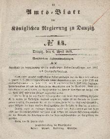 Amts-Blatt der Königlichen Regierung zu Danzig, 6. April 1859, Nr. 14