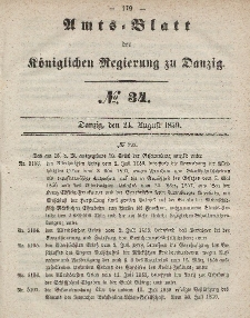 Amts-Blatt der Königlichen Regierung zu Danzig, 24. August 1859, Nr. 34