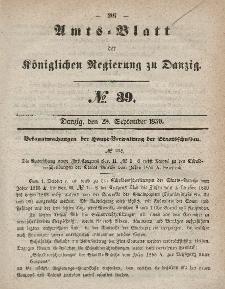 Amts-Blatt der Königlichen Regierung zu Danzig, 28. September 1859, Nr. 39