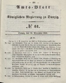 Amts-Blatt der Königlichen Regierung zu Danzig, 21. Dezember 1859, Nr. 51