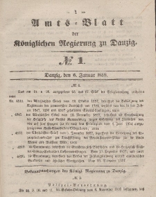 Amts-Blatt der Königlichen Regierung zu Danzig, 6. Januar 1858, Nr. 1