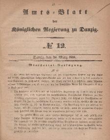 Amts-Blatt der Königlichen Regierung zu Danzig, 24. März 1858, Nr. 12