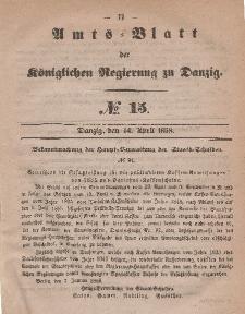 Amts-Blatt der Königlichen Regierung zu Danzig, 14. April 1858, Nr. 15