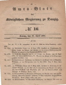 Amts-Blatt der Königlichen Regierung zu Danzig, 21. April 1858, Nr. 16