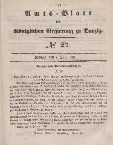 Amts-Blatt der Königlichen Regierung zu Danzig, 7. Juli 1858, Nr. 27