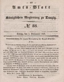 Amts-Blatt der Königlichen Regierung zu Danzig, 1. September 1858, Nr. 35