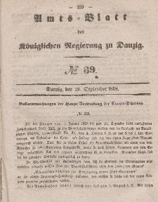 Amts-Blatt der Königlichen Regierung zu Danzig, 29. September 1858, Nr. 39