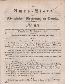 Amts-Blatt der Königlichen Regierung zu Danzig, 10. November 1858, Nr. 45