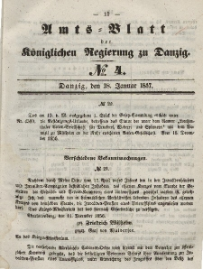 Amts-Blatt der Königlichen Regierung zu Danzig, 28. Januar 1857, Nr. 4